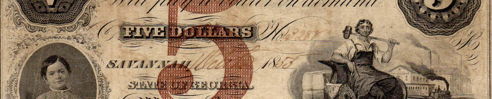 Confederate five dollar bill